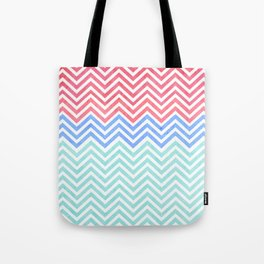 Chevron Blue and Red vintage Tote Bag