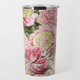Vintage & Shabby Chic Floral Peony & Lily Flowers Watercolor Pattern Travel Mug