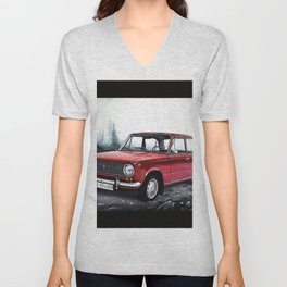 RUSSIAN LADA IN RED WITH SLOVAKIA TATRY MOUNTAINS IN THE BACKGROUND Unisex V-Neck