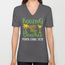 Boozing With My Beaches Girls Trip Punta Cana 2020 graphic Unisex V-Neck