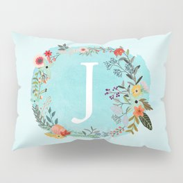 Personalized Monogram Initial Letter J Blue Watercolor Flower Wreath Artwork Pillow Sham