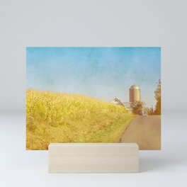 Golden Yellow Cornfield and Barn with Blue Sky Mini Art Print
