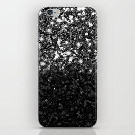 Black & Silver Glitter Gradient iPhone Skin