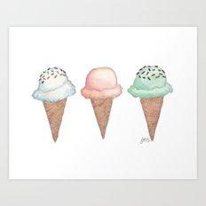 Three Ice Cream Cones Art Print