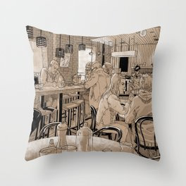 Three Bags Full Cafe Throw Pillow