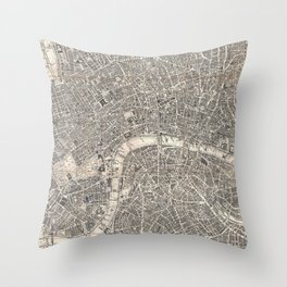 Vintage Map of London England (1899) 2 Throw Pillow