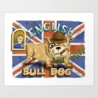 english bulldog Art Prints featuring English Bulldog by Brian Raszka Art & Illustration