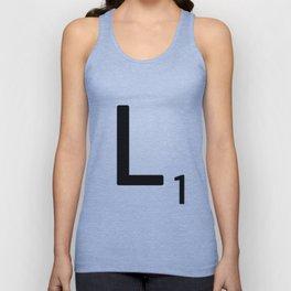 Letter L - Custom Scrabble Letter Tile Art - Scrabble L Initial Unisex Tank Top
