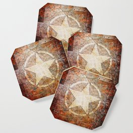 Army Star on Rusted Riveted Metal Plate Coaster