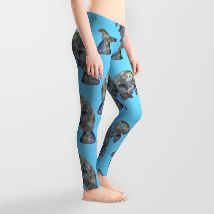 Blue Watercolor Manatee Pattern Leggings