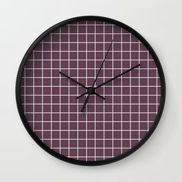 Eggplant - violet color - White Lines Grid Pattern Wall Clock
