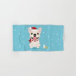 French Bulldog Waiting for Santa - Cream Edition Hand & Bath Towel