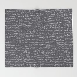 Math Equations // Charcoal Throw Blanket