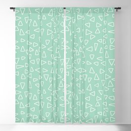 White open triangles at a soft, mint green background Blackout Curtain