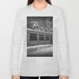 Rosie's Diner Photograph in Infrared Black & White by Rockford, Michigan Long Sleeve T-shirt