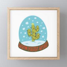 Cactus Snow Globe Framed Mini Art Print