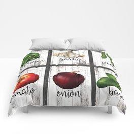 Rustic White Wood Herbs & Garden Vegetables Comforters