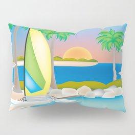 Key West, Florida - Skyline Illustration by Loose Petals Pillow Sham