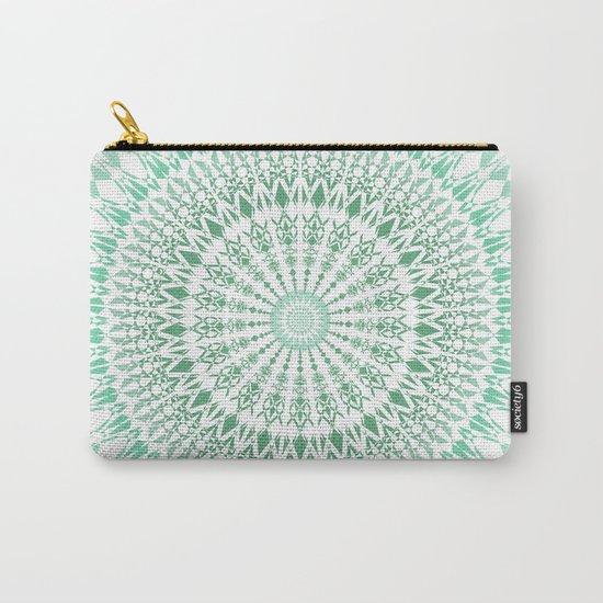 Mint White Geometric Mandala Carry-All Pouch