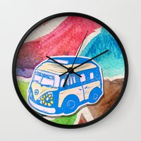 vw bus Wall Clocks featuring VW Bus Campervan by Carrie at Dendryad Art