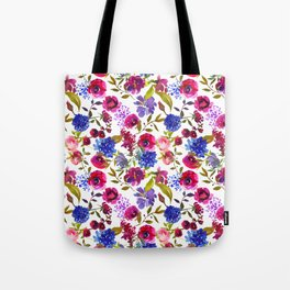Scattered Bright Pink, Purple and Lavender Floral Arrangement with Feathers on Soft White Tote Bag