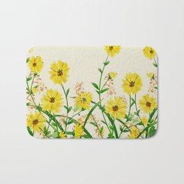 Yellow Wildflowers Bath Mat