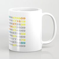numbers Mugs featuring Numbers by Andrew Reid