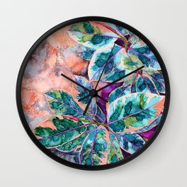 Rubber Tree - Alcohol Ink Wall Clock