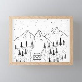Minimal Camping Rv Hippie Van Camper Mountain Wild Outdoor Framed Mini Art Print