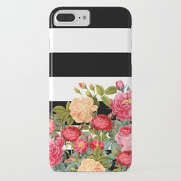 Black and White Stripe with Floral iPhone Case
