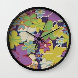 Bright Blooms on Dark Purple Wall Clock