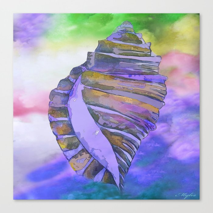 CONCH SEA SHELL PURPLE IMPRESSIONS Canvas Print