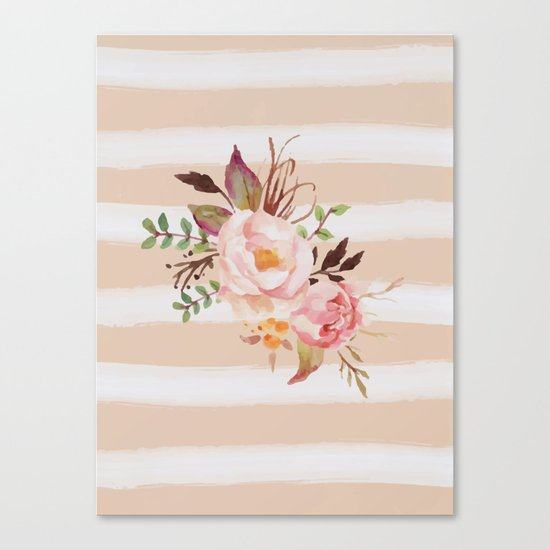Roses and strips Canvas Print