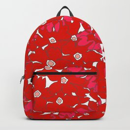 Passion Red Floral Pattern Backpack