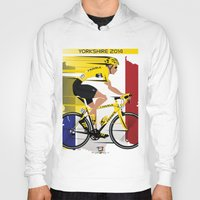 tour de france Hoodies featuring Grand Depart Yorkshire Tour De France  by Wyatt Design
