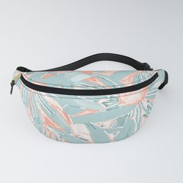 Floral Daisy Pattern, Coral and Teal Fanny Pack