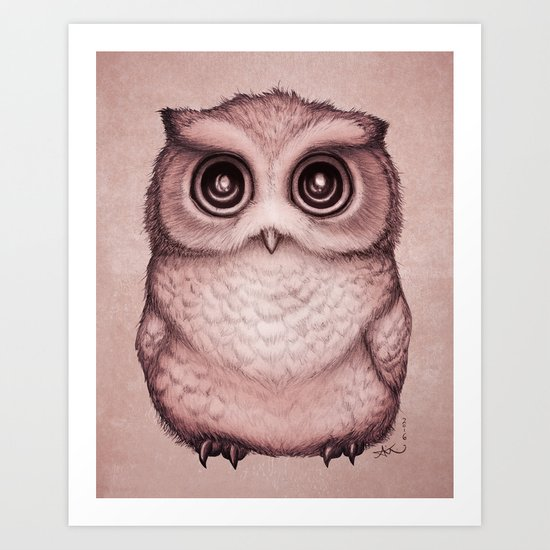 """The Little Owl"" by Amber Marine ~ (Peach Fuzz Version) Graphite & Ink Illustration, (c) 2016 Art Print"