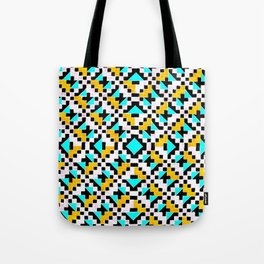 Geometric Inverse Turquoise & Yellow Tote Bag