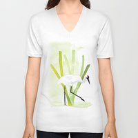 crane V-neck T-shirts featuring Crane by Xiao Twins