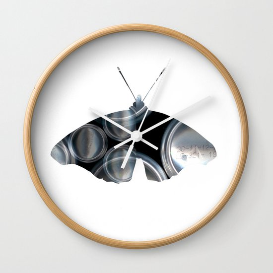 Metal Can Butterfly Collage Wall Clock