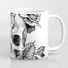 Black and White skull with roses pen drawing Coffee Mug