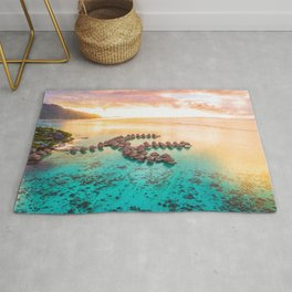 Bora bora Tahiti honeymoon beach resort vacation Rug