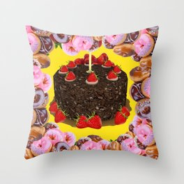 PINK FROSTED DONUTS BIRTHDAY PARTY Throw Pillow