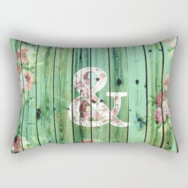 Vintage Floral Ampersand Turquoise Beach Wood Rectangular Pillow