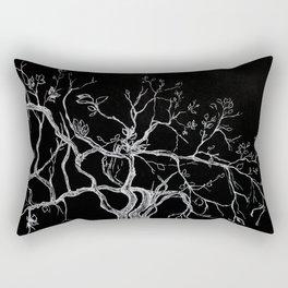 Graphic art, tree leaves, white ink Rectangular Pillow