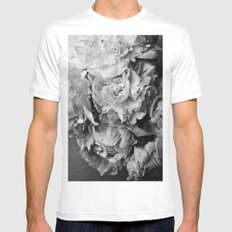Peonies Black and White 1 MEDIUM White Mens Fitted Tee