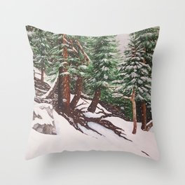 Snowing at Mount Baldy Throw Pillow
