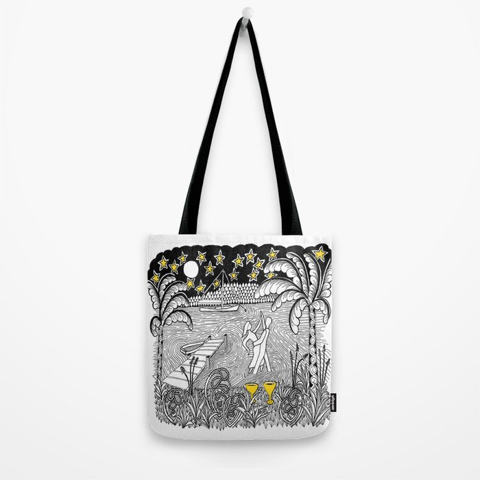 Beach Dancing under Stars Zentangle Style Tote Bag