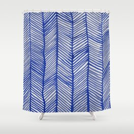 Abstract Leaf Blue Pattern Shower Curtain