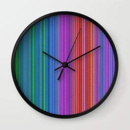 Abstract rainbow dots and lines Wall Clock